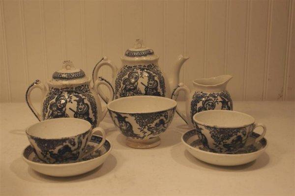 """1008: English Child's Tea Set, """"Punch"""" Pattern"""