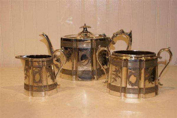 1009: Engraved English Tea Set, Silverplated