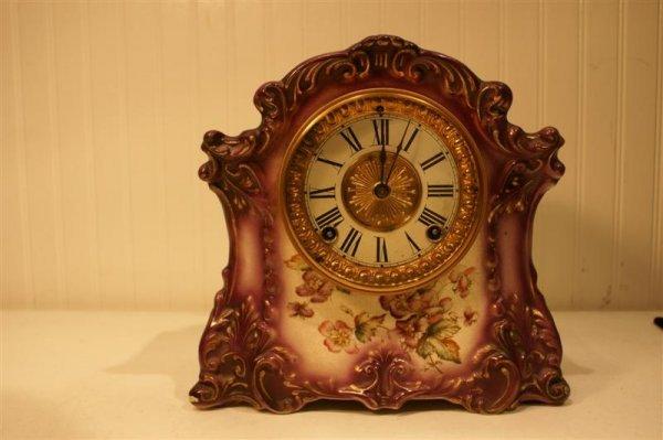 1012: China Cased Shelf Clock signed Tilbury