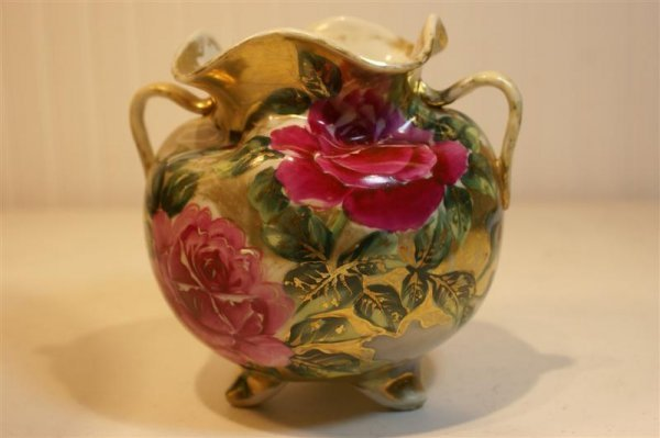 1018: Hand Painted Porcelain Footed Urn