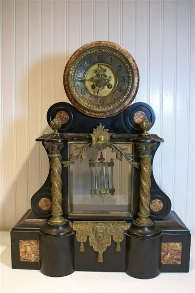 2021: Inlaid Marble & Brass Mantle Clock