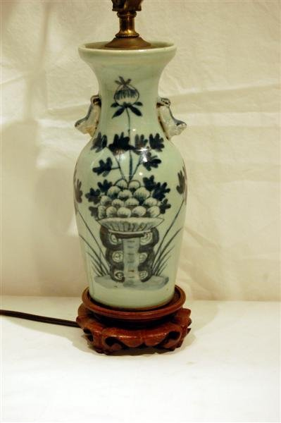 2003: CHINESE CANTON VASE WITH FOO DOG HANDLES, MOUNTED