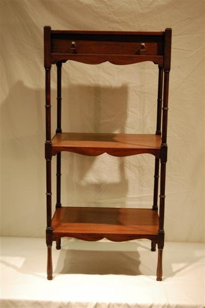 2009: CABINET MADE THREE TIER STAND - MAHOGANY WITH 1 D