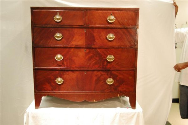 2010: 19 C FIVE DRAWER CHEST, EBGLISH, FEATHERED MAHOGA