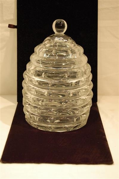 2011: HONEY COMB MOTIF COVERED CRYSTAL CANDY DISH WITH