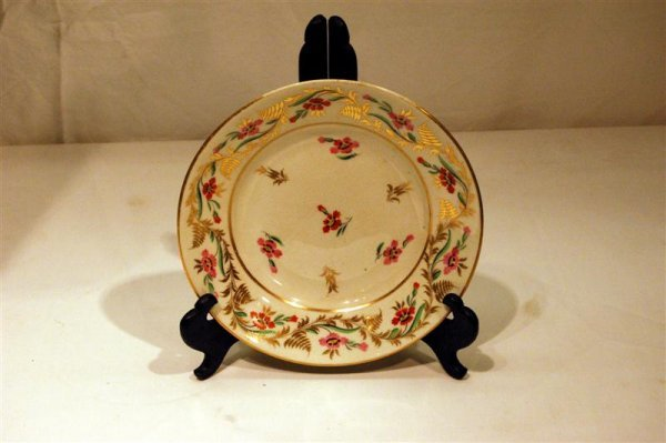 "2023: 19TH CENTURY FLORAL DECORATED DERBY PLATE - 7 "" D"