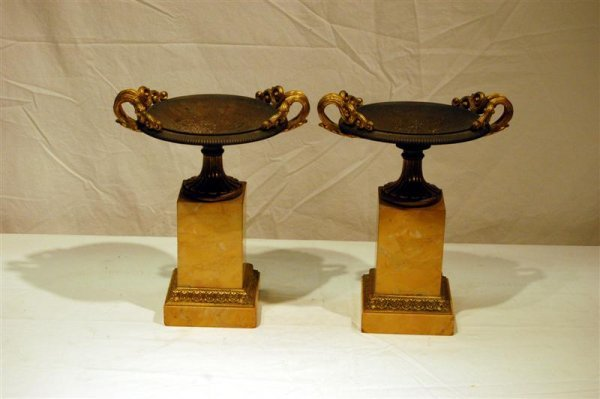 "2106: PAIR OF MARBLE BRONZE & BRASS COUPES - 10"" TALL X"