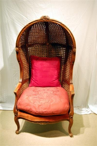 2129: WALNUT FRAMED LOUIS XV STYLE BUTLERS CHAIR - DOUB