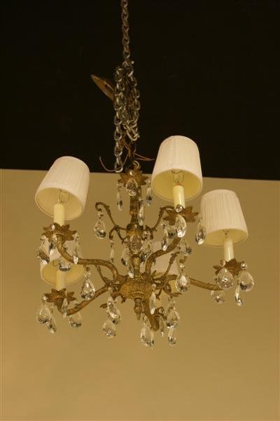 1091: BRASS FIVE ARM CHANDELIER