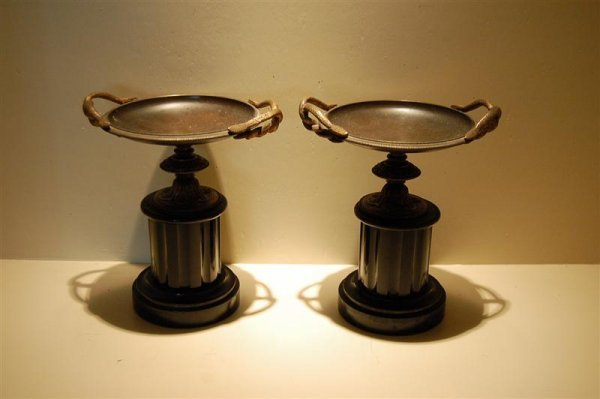 3007: PR OF  BLACK MARBLE & BRASS COUPES