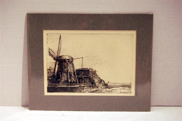 177: 19th CENTURY REMBRANDT ETCHING - WINDMILL SCENE -