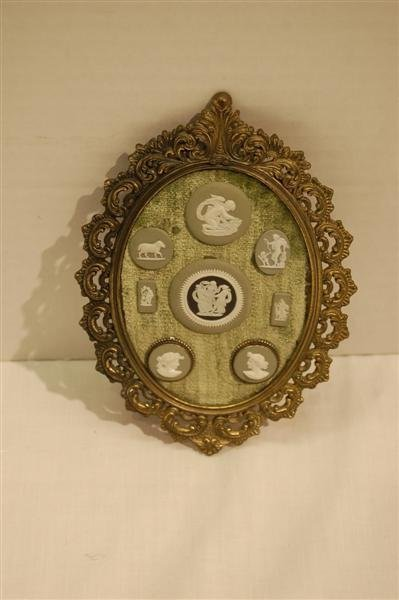 198: EIGHT WEDGWOOD MEDALLIONS IN A BRASS FRAME - FRAME