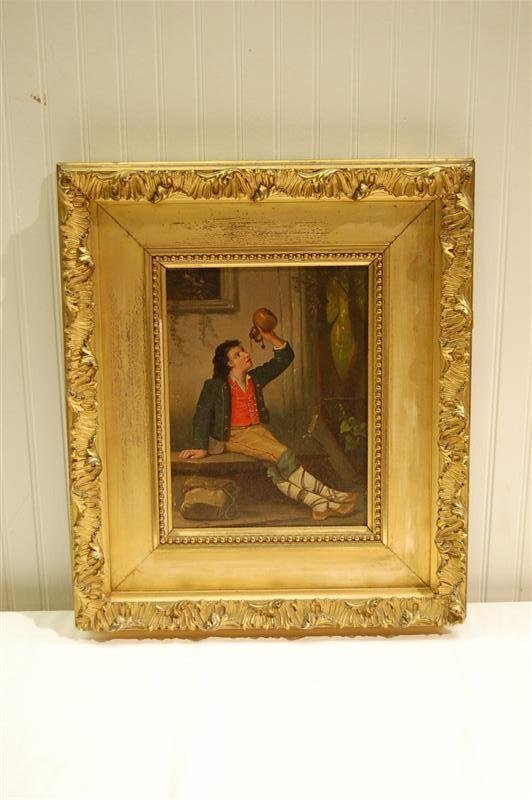 248: ENGLISH OIL - YOUTH DRINKING IN ORNATE FRAME