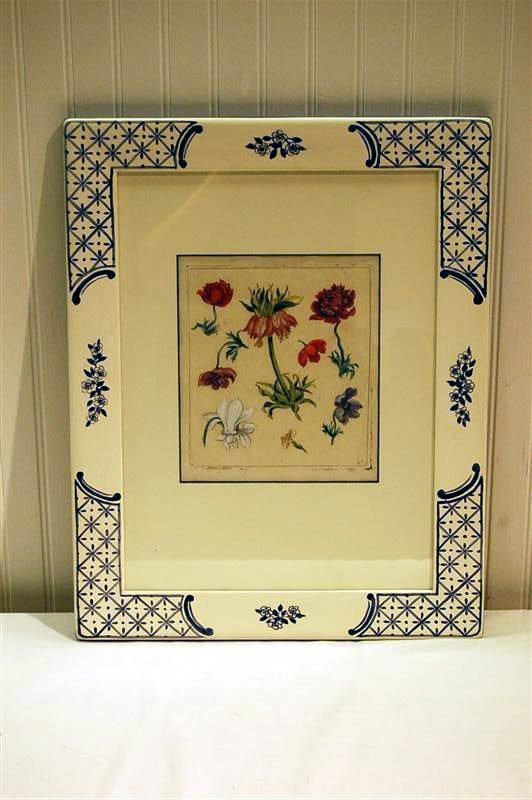 """328: FRAMED & MATTED LATE 18C  FLORAL ENGRAVING -  1/2"""""""