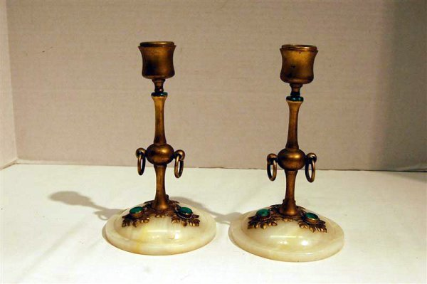 331: PAIR OF RUSSIAN ONYX BRONZE & MALICITE CANDLESTICK