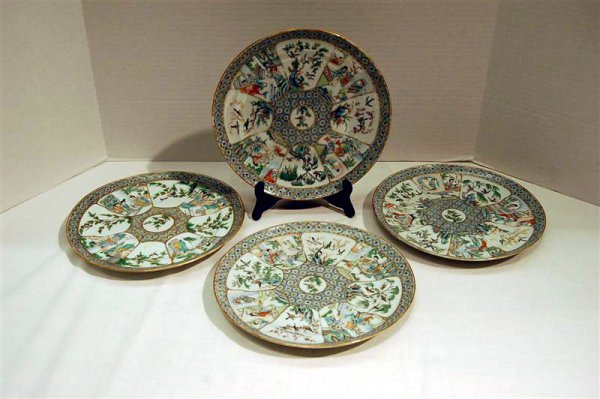 341: FOUR LATE 19TH CENTURY ROSE FAMILLE PLATES - 9 1/2
