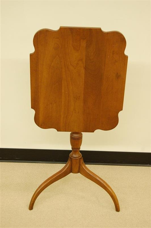 348: SOLID CHERRY TILT TOP STAND W/ TURNED BASE & SPLAY