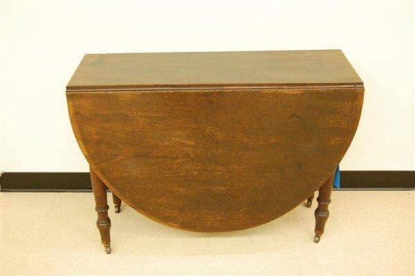 349: 19TH CENTURY ENGLISH OAK DROP LEAF TABLE W/ TURNED
