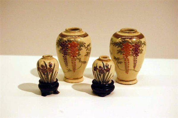 "16: FOUR PIECES OF MINATURE KUTANI - 2 5/8"" X 1 1/8"""