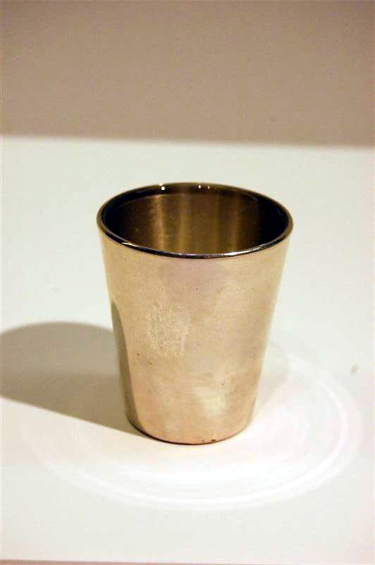 18: STERLING GLASS LINED SHOT GLASS BY BROADMAN #214 -