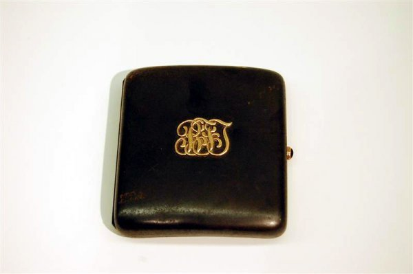 22: STEEL CIGARETTE CASE - CONTOUR WITH JEWELED CLASP