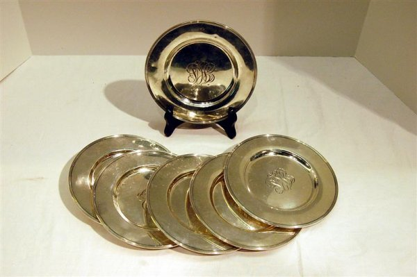 207: SIX GORHAM STERLING BREAD & BUTTER PLATES, 24 TROY