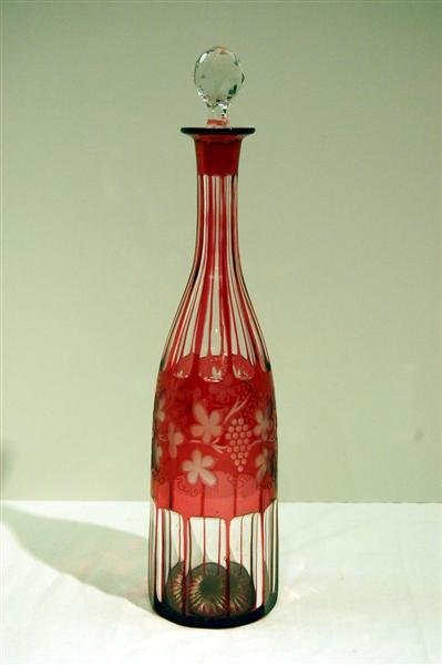 """217: BOHEMIAN RUBY CUT TO CLEAR DECANTER - 14 1/2""""T"""