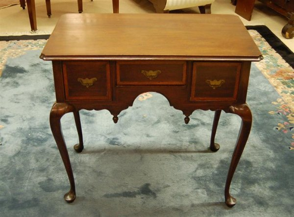 264: QUEEN ANNE STYLE MAHOGANY INLAID LOWBOY, WITH 3 DR