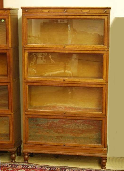 285: FOUR (4) FOUR SECTION OAK STACK BOOKCASES BY MACE