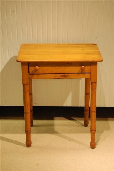 379: 19TH CENTURY AMERICAN PINE ONE DOOR STAND W/ TURNE