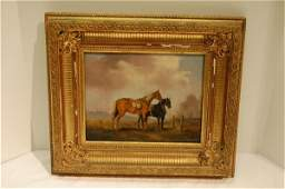 396 PAIR OF ENGLISH OILS ON CANVAS  HORSES 19TH CENT