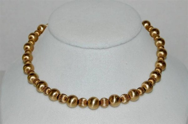 "398: 14K YELLOW GOLD BEAD NECKLACE - 15"" LONG - 19 GRAM"