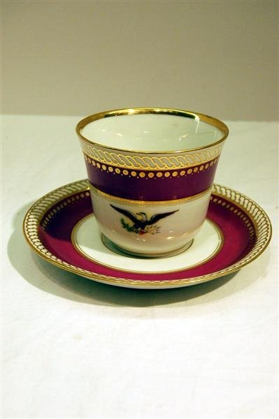 471: LINCOLN PRESIDENTIAL CHINA CUP & SAUCER - OLD PARI