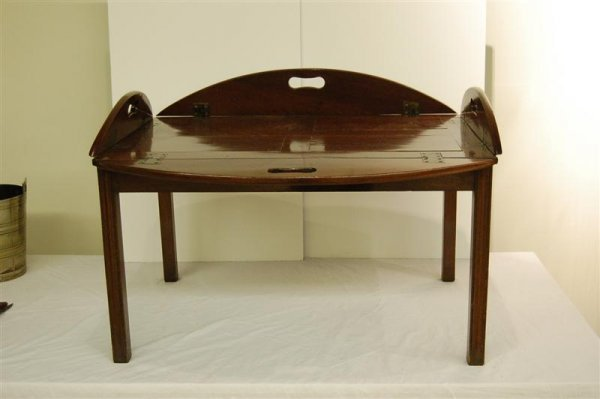 """4: MAHOGANY CAMPAIGN STYLE BUTLERS TRAY TABLE - 16"""" TAL"""
