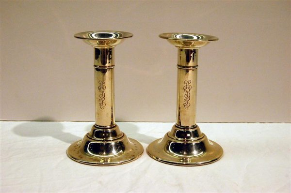 6: PAIR OF WHITING STERLING CANDLESTICKS - MONOGRAM HBL