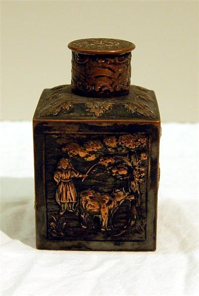 8: ENGLISH SILVER ON COPPER TEA CANISTER - SCENIC REPOS