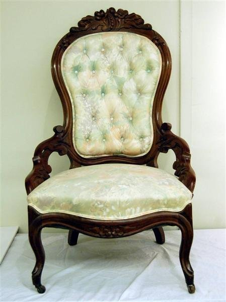 """14: ROSE CARVED VICTORIAN CHAIR W/ HIP REST - 42 1/2"""" T"""