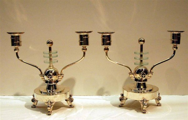 17: PAIR OF SIGNED BARBOUR ART DECO SILVERPLATE & LUCIT