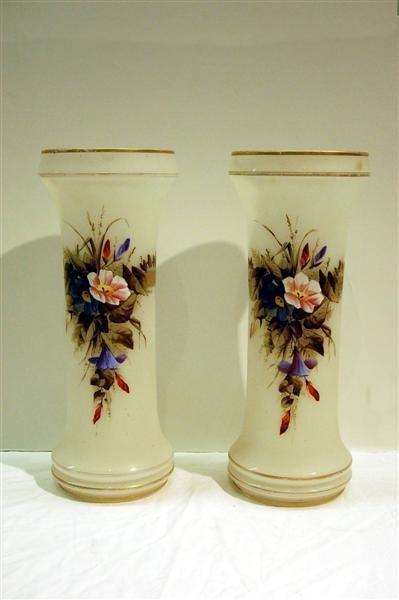 23: PAIR OF BRISTOL GLASS VASES W/ FLORAL ENAMEL DECORA