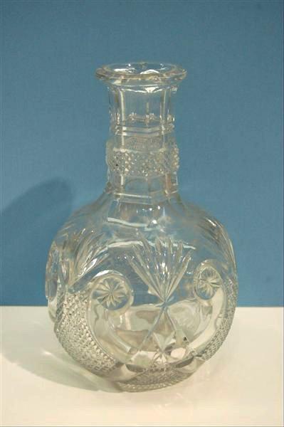 "217: 19TH CENTURY BLOWN PATTERN GLASS CARAFE - 8"" T"