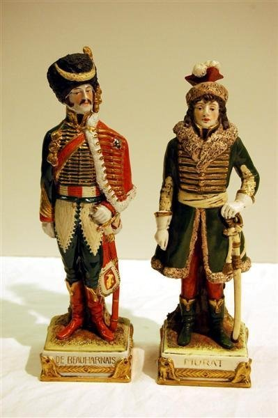 221: TWO GERMAN PORECELAIN FIGURES - 19TH C. SOLDIERS -