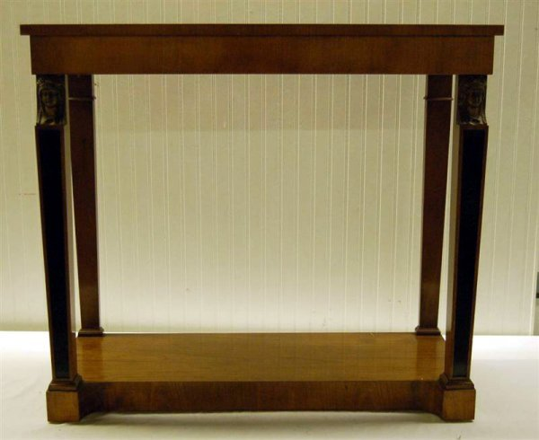 225: CHERRY NEO CLASSICAL STYLE CONSOLE TABLE W/ BRASS