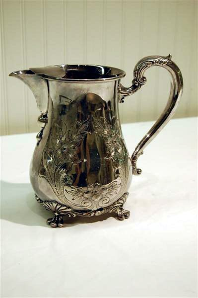 231: WATER PITCHER, SILVER ON COPPER, ROCOCO STYLE W/ S