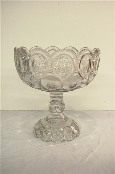 232: AMERICAN PATTERN GLASS COMPOTE - MOON & STAR PATTE