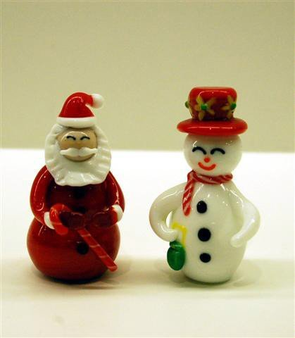 16: TWO ART GLASS PAPERWEIGTHS - SANTA CLAUS & FROSTY -