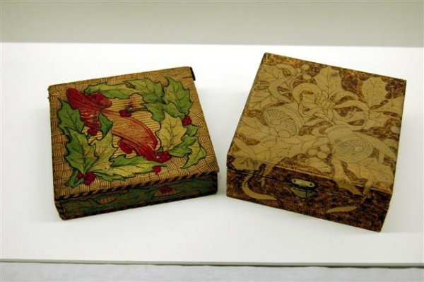 18: TWO CHRISTMAS DECORATED WOODEN BOXES W/ BURNED DESI