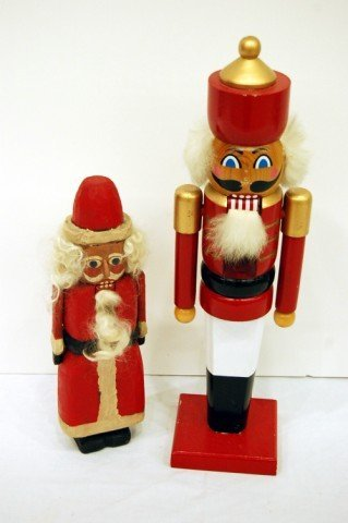 206: TWO CARVED WOODEN NUTCRACKER FIGURES - ONE BY MARY