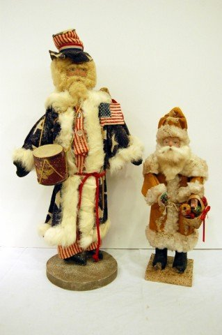 213: TWO HAND MADE SANTA CLAUS FIGURES - ONE SIGNED RUS