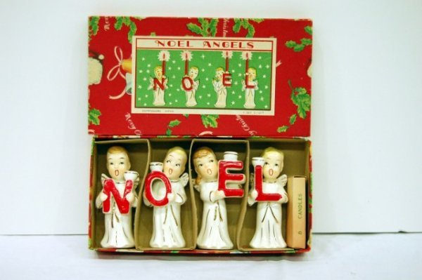 "221: FOUR ""NOEL"" ANGEL CANDLE HOLDERS W/ ORIGINAL BOX -"