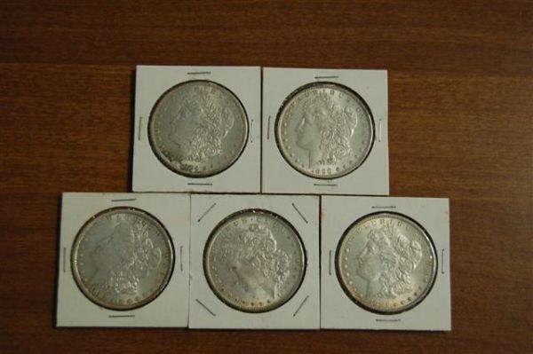 212A: FIVE (5) MORGAN SILVER DOLLARS - 1885